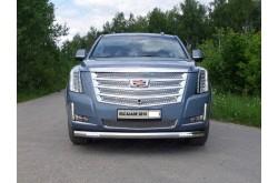 Защита переднего бампера с ДХО Cadillac Escalade 4