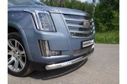 Защита переднего бампера овальная с ДХО Cadillac Escalade 4
