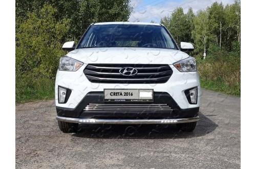 Защита переднего бампера с ДХО Hyundai Creta