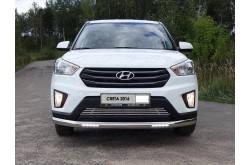 Защита переднего бампера овальная с ДХО Hyundai Creta