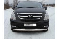 Защита переднего бампера овальная с ДХО Hyundai H1
