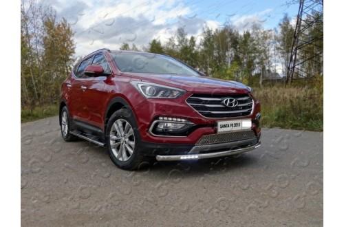 Защита переднего бампера с ДХО Hyundai Santa Fe
