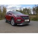 Защита переднего бампера с ДХО Hyundai Santa Fe 3