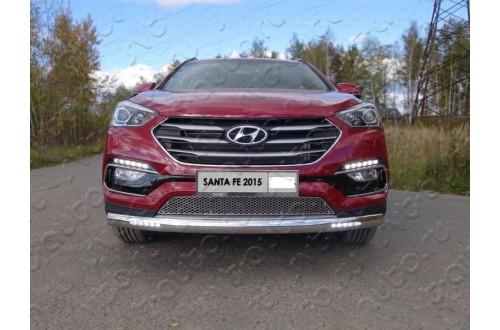 Защита переднего бампера овальная с ДХО Hyundai Santa Fe