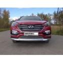 Защита переднего бампера овальная с ДХО Hyundai Santa Fe 3