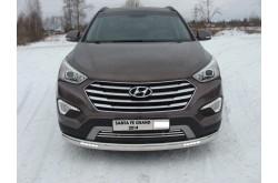 Защита переднего бампера овальная с ДХО Hyundai Santa Fe Grand