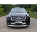 Защита переднего бампера овальная с ДХО Hyundai Grand Santa Fe