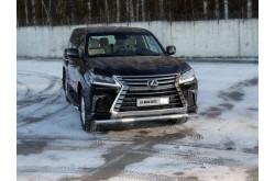 Защита переднего бампера овальная с ДХО Lexus LX 450 3