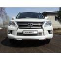 Защита переднего бампера овальная короткая с ДХО Lexus LX 570 3