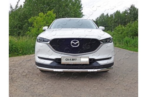 Защита переднего бампера с ДХО Mazda CX5 2