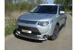 Защита переднего бампера овальная с ДХО Mitsubishi Outlander 3