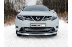 Защита переднего бампера овальная с ДХО Nissan Murano Z51