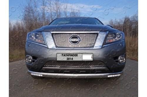 Защита переднего бампера овальная с ДХО Nissan Pathfinder R52