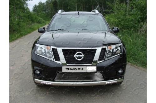 Защита переднего бампера овальная с ДХО Nissan Terrano 3