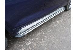 Пороги алюминиевые Slim Line Silver Audi Q5 2017