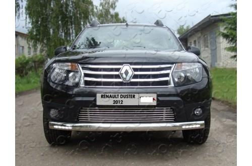 Защита переднего бампера овальная с ДХО Renault Duster
