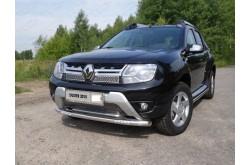 Защита переднего бампера с ДХО Renault Duster рестайлинг