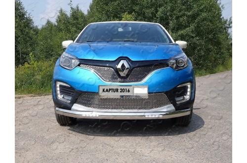 Защита переднего бампера овальная с ДХО Renault Kaptur