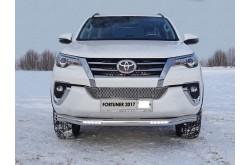 Защита переднего бампера с ДХО Toyota Fortuner 2