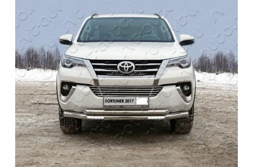 Защита переднего бампера двойная с ДХО Toyota Fortuner 2