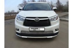 Защита переднего бампера с ДХО Toyota Highlander 3