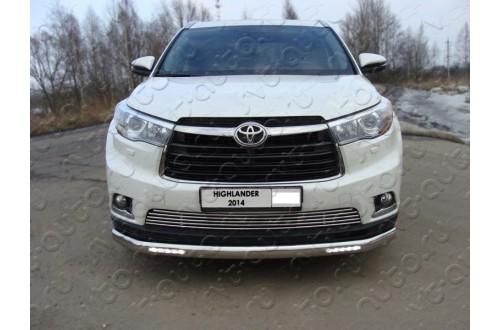 Защита переднего бампера овальная с ДХО Toyota Highlander 3