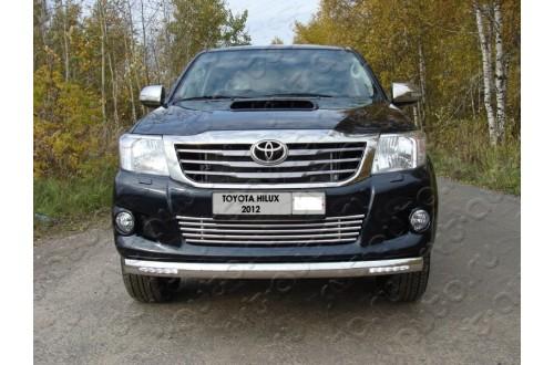 Защита переднего бампера овальная с ДХО Toyota Hilux 7