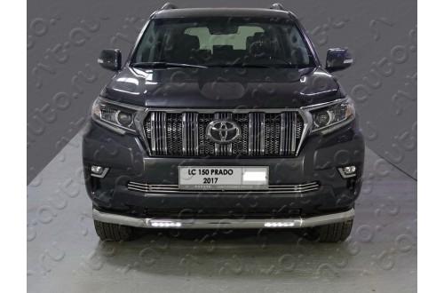 Защита переднего бампера с ДХО Toyota Land Cruiser Prado 150