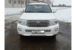 Защита переднего бампера с ДХО Toyota Land Cruiser 200