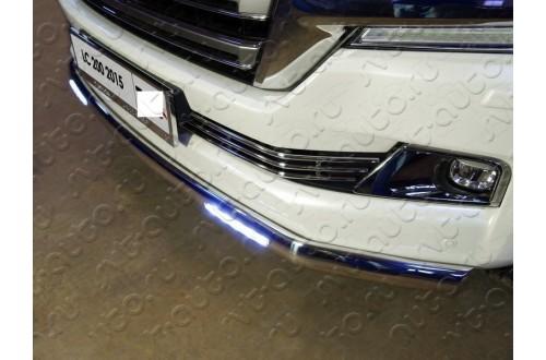 Защита переднего бампера овальная с ДХО Toyota Land Cruiser 200 рестайлинг