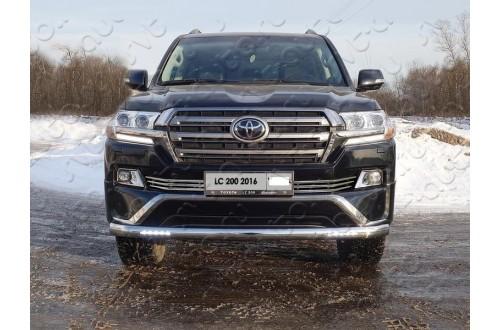 Защита переднего бампера овальная с ДХО Toyota Land Cruiser 200 Executive