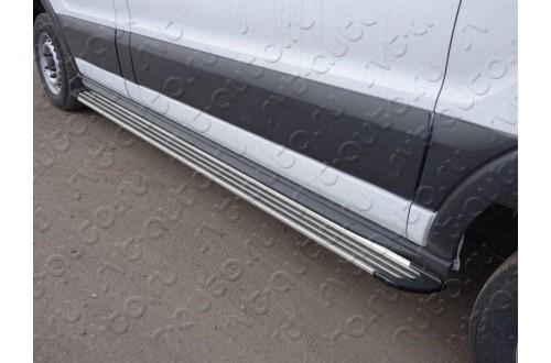 Порог алюминиевый правый Slim Line Silver Ford Tranzit 2013