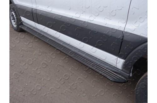 Порог алюминиевый левый Slim Line Black Ford Tranzit 2013