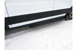 Порог алюминиевый короткий левый Slim Line Black Ford Tranzit 2013