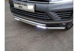 Защита переднего бампера двойная с ДХО Vlkswagen Touareg 2 R Line