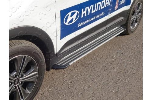 Пороги алюминиевые Slim Line Silver Hyundai Creta