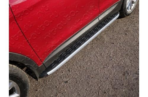 Пороги алюминиевые Hyundai Santa Fe Premium