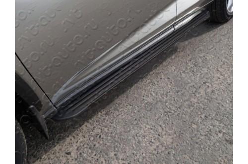 Пороги алюминиевые Slim Line Black Lexus NX200 рестайлинг2017