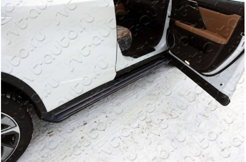 Пороги алюминиевые Slim Line Black Lexus RX