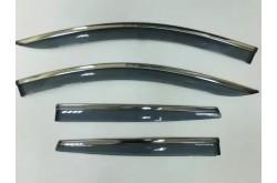 Дефлекторы окон с нержавеющим молдингом Hyundai Santa Fe 3