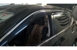 Оригинальные дефлекторы окон с нержавеющим молдингом Nissan Qashqai 2