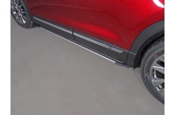 Пороги алюминиевые Slim Line Silver Mazda CX-9 2017