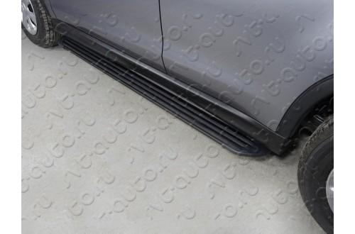 Пороги алюминиевые Slim Line Black Mitsubishi ASX рестайлинг 2017