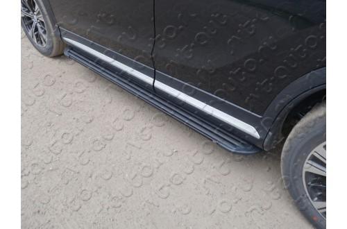 Пороги алюминиевые Slim Line Black Mitsubishi Eclipse Cross