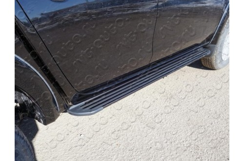 Пороги алюминиевые Slim Line Black Mitsubishi L200 Long