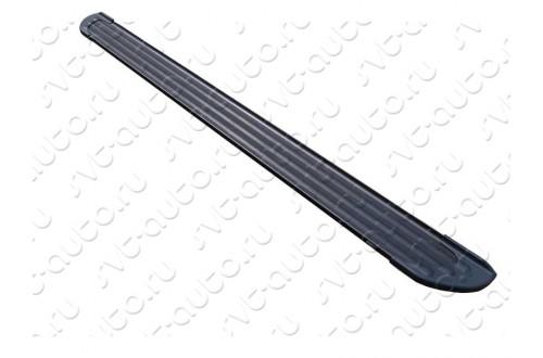 Пороги алюминиевые Slim Line Black Ssang Yong Actyon 2 рестайлинг
