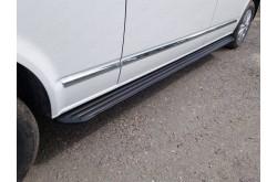 Пороги алюминиевые Slim Line Black Volkswagen Caravelle T6