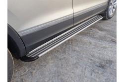 Пороги алюминиевые Slim Line Silver Volkswagen Tiguan 2017