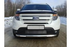 Защита переднего бампера овальная с дхо Ford Explorer 5