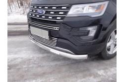 Защита переднего бампера овальная с дхо Ford Explorer 2016
